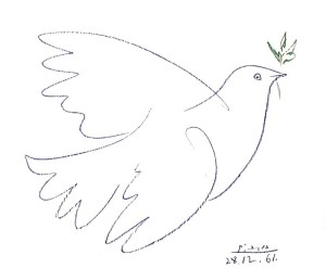 The famous Dove of Peace lithograph is made on zinc using petrolium, a product which is seriously frowned upon in lithography. The work is known around the world as the symbol of the peace movement.